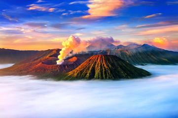 Mount Bromo volcano (Gunung Bromo) during sunrise from viewpoint on Mount Penanjakan in Bromo Tengger Semeru National Park, East Java, Indonesia.