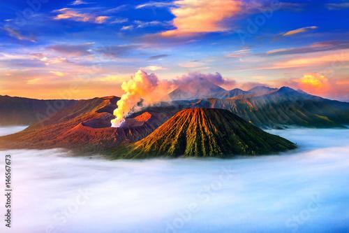 Mount Bromo volcano (Gunung Bromo) during sunrise from viewpoint on Mount Penanjakan in Bromo Tengger Semeru National Park, East Java, Indonesia Wallpaper Mural