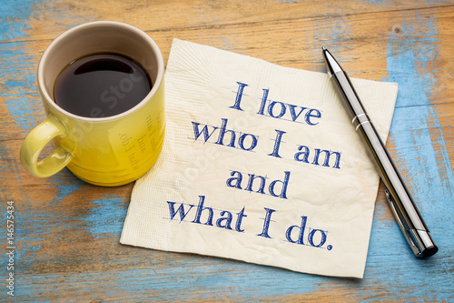 Photo positive affirmation words on napkin