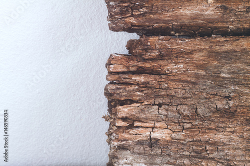 Garden Poster Cookies Closeup texture and background of old wood panel on white cement wall