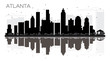 Atlanta City skyline black and white silhouette with reflections.