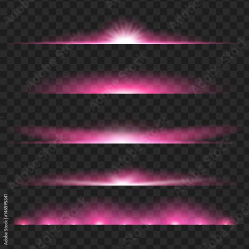 Tablou Canvas Set of purple glowing light effect