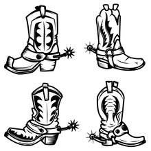 Set Of The Cowboy Boots Illust...