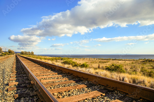 railroad along the coastline Wallpaper Mural
