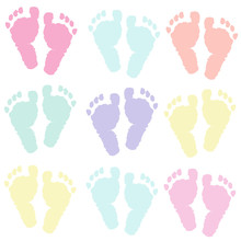 Pastel Coloured Baby Foot Prints Background