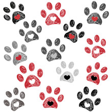 Black And Red Paw Print With H...