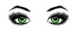 Beautiful open female green eyes with long eyelashes is isolated on a white background. Makeup template illustration. Color sketch felt-tip pens. Handwork. Fast schematic drawing