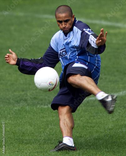 Real Madrids Brazilian Striker Roberto Carlos Handles The