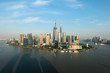Shanghai skyline panoramic view along Huangpu river at Shanghai Lujiazui Pudong central business center in Shanghai, China.