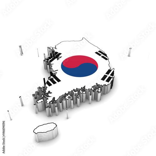 South Korea Map Outline with South Korean Flag 3D Illustration ... on
