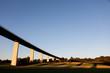 canvas print picture - Brücke im Ruhrgebiet mit Sonennuntergang und Schatten, Ruhr, Essen Düsseldorf, Deutschland