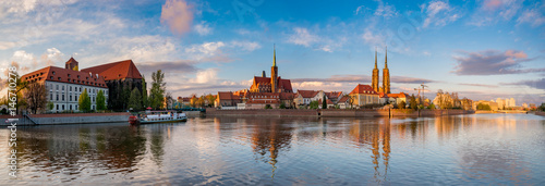 "Wroclaw, Poland- Panorama of the historic and historic part of the old town ""Ostrow Tumski""."
