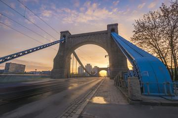 Fototapeta Wroclaw, Poland- Grunwaldzki Bridge on the Oder River