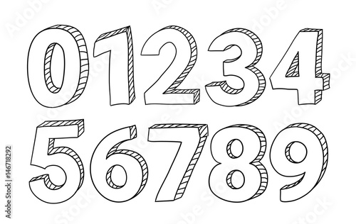 Fotografie, Obraz Set of hand drawn vector numbers isolated on white background