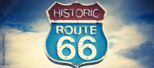 Aluminium Prints Route 66 motel spirit in historic 66 road