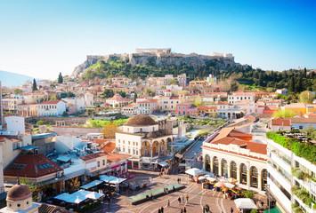 Skyline of Athenth s trgom Moanstiraki i brdom Acropolis, Athens Athena, retro toniran