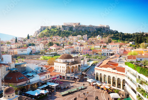 Canvas Prints Athens Skyline of Athenth with Moanstiraki square and Acropolis hill, Athens Greecer, retro toned