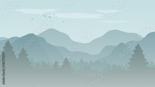 Tuinposter Lichtblauw Landscape with blue silhouettes of mountains, hills and forest with flying birds in the sky - vector illustration