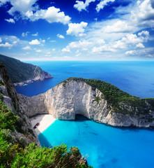 Fototapeta Navagio beach, famous lanscape of Zakinthos island, Greecer, retro toned