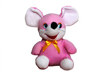 Pink Mouse Soft Toy Isolated