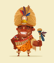 Happy Smiling African Voodoo Shaman. Vector Flat Cartoon Illustration