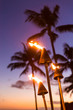 canvas print picture Hawaii sunset with lit tiki torches. Hawaiian icon, lights burning at dusk at beach resort or restaurants for outdoor lighting and decoration, cozy atmosphere.