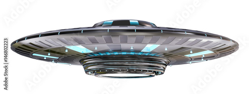Fotografie, Obraz  Vintage UFO isolated on white background 3D rendering