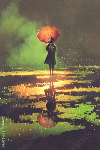 ciemna fantazja koncepcja tajemniczej kobiety trzyma parasol stojący w kałuży, ilustracyjny obraz cyfrowy
