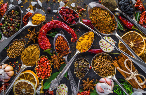 Printed kitchen splashbacks Spices Spices and herbs in metal bowls. Food and cuisine ingredients. Colorful natural additives.