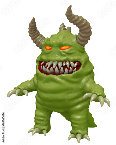 Funny cute monster with horns 3D render