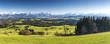 canvas print picture - Bayern, Allgäu, Panorama vom Auerberg gen Alpen