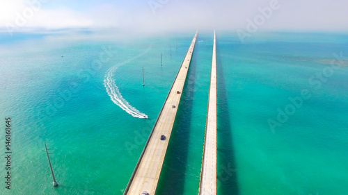 Valokuva  Seven Miles bridge. Florida Keys. Aerial photo