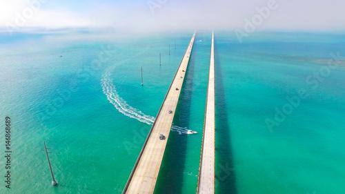 Seven Miles bridge. Florida Keys. Aerial photo Canvas-taulu
