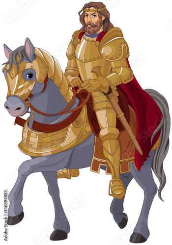 Fotografie, Obraz  Medieval King Horseback
