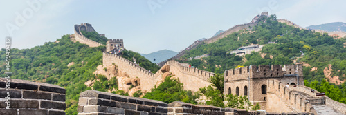 Poster Chinese Muur Banner panorama crop of nature landscape of Great wall of china, top tourist attraction worldwide. Background for text advertising. Asia travel destination in Beijing.