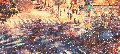 Plakat Tłumy zbiegają się w Shibuya Crossing w Tokio w Japonii