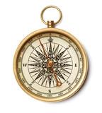 Fototapeta Łazienka - antique compass close up isolated on white background
