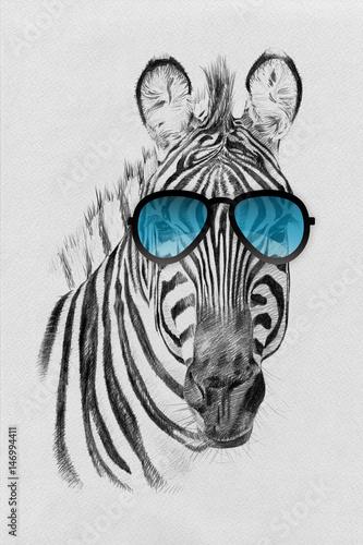 Plakat na zamówienie Portret czarno-białej zebry z niebieskimi okularami