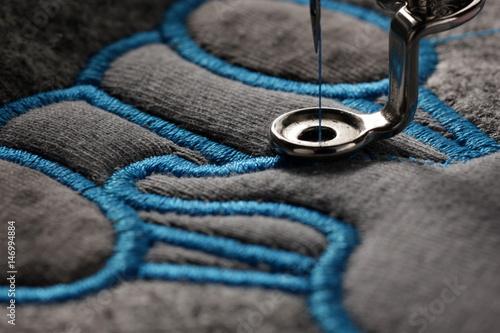 Obraz na plátně embroidery and application with embroidery machine - macro of progress satin sti