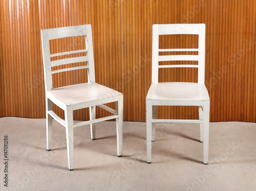 Two plain white painted wooden kitchen chairs - Buy this ...