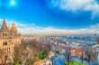Budapest panoramic view from the Citadel with bridges and the Parliament