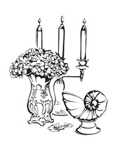 Sweet Home. Vector Illustration Of Vintage Interior  With  Candlestick , Sculpture Seashell And Vase With Flowers.Black Line Silhouette.