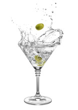 Martini With Olives And Splashes
