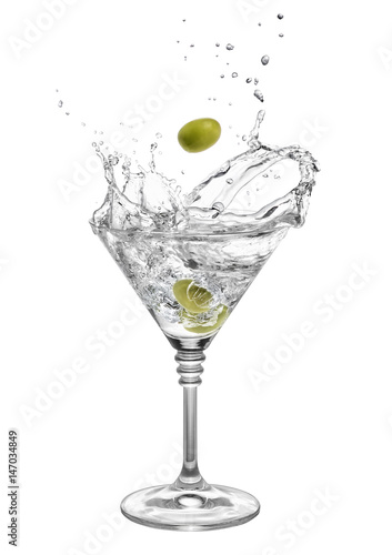 Fotomural  martini with olives and splashes