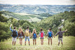 canvas print picture - Friends hiking outdoors