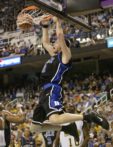 Duke University's Josh McRoberts slams one against the