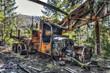 Forgotten truck wreck in an abandoned quarry