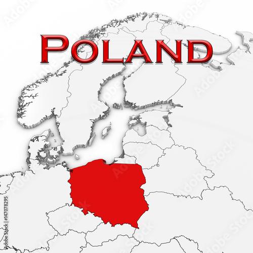 3d-mapa-polska-z-kraju-imieniem-podkreslajaca-rewolucjonistka-na-bialej-tla-3d-ilustraci