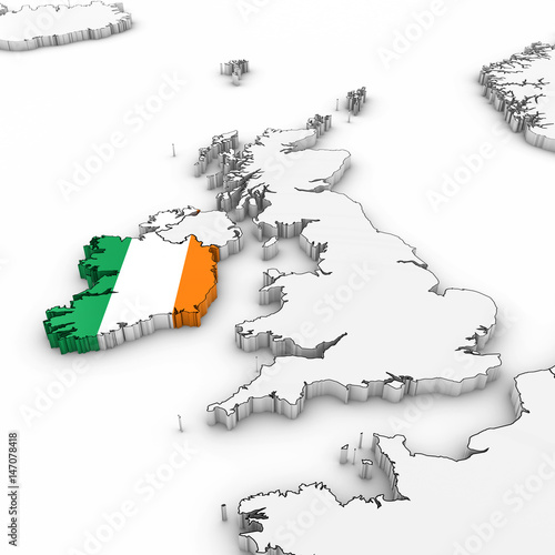 Map Of Ireland 3d.3d Map Of Ireland With Irish Flag On White Background 3d