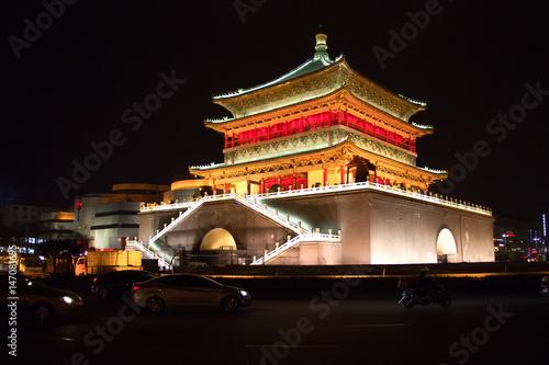 Papiers peints Xian Bell Tower at night, Xian, China